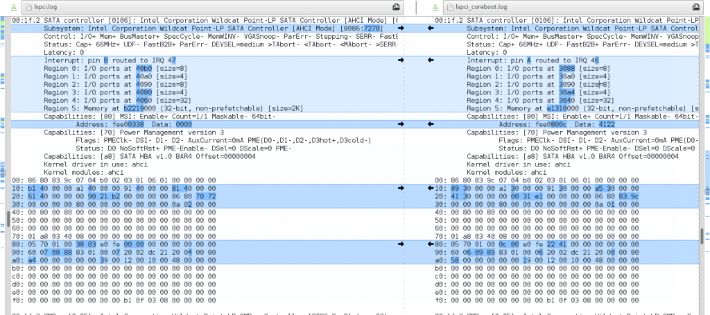 L13 M2 SATA coreboot lspci diff meld