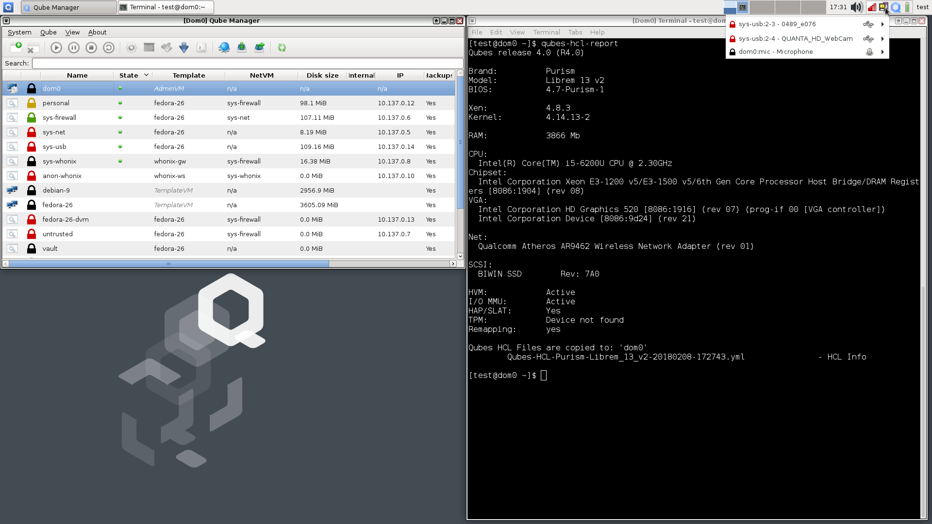 Qubes 4 0 fully working on Librem laptops, coreboot added