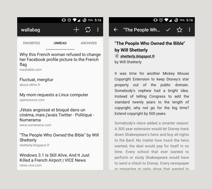 Wallabag for Android (screenshots from Google Play listing)