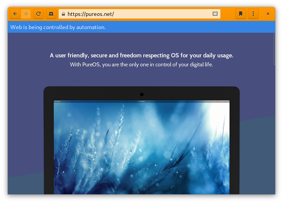 Orange-bordered web window displaying the PureOS website