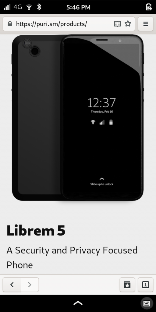 Librem 5, the most secure phone, showing web browser