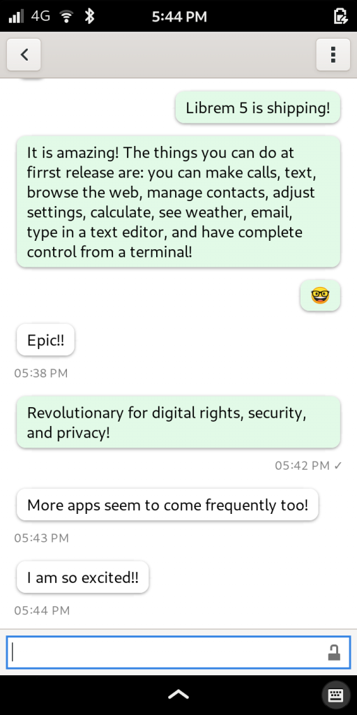 Librem 5, the most secure phone, showing chat