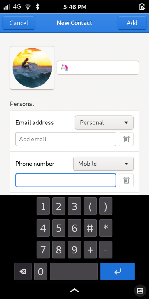 Librem 5, the most secure phone, showing contacts
