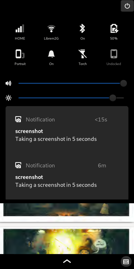 Librem 5, the most secure phone, showing notifications