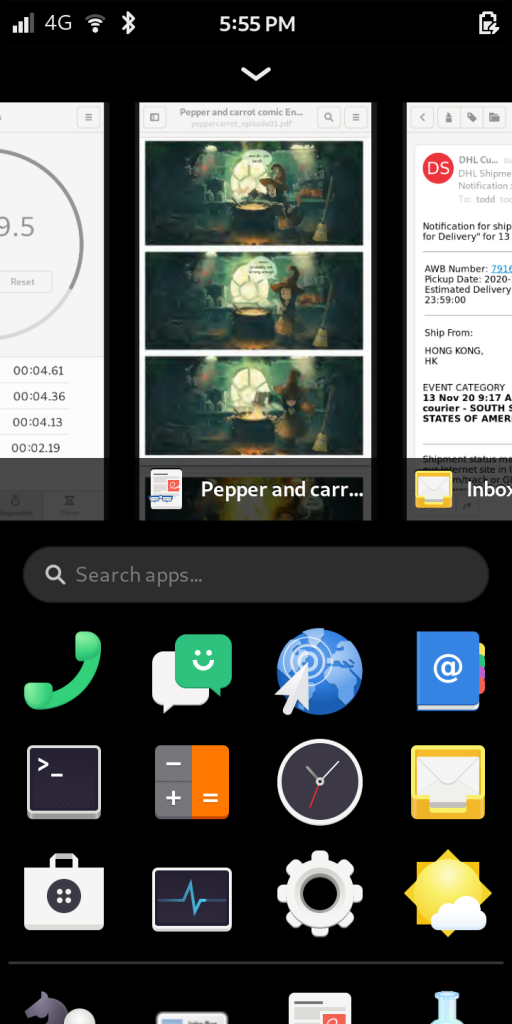 Librem 5, the most secure phone, showing app viewer