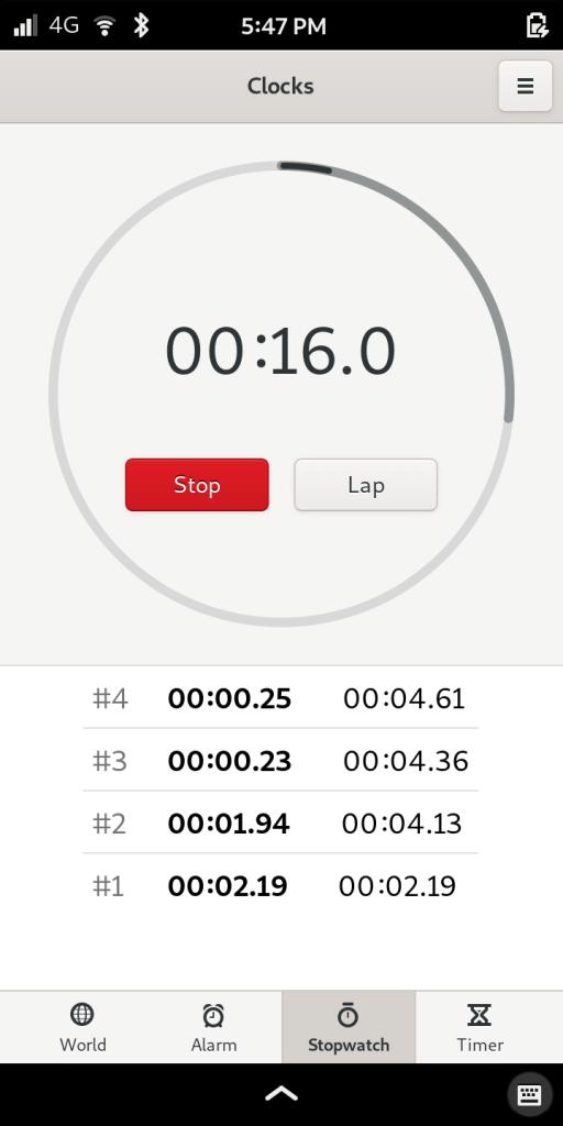 Librem 5, the most secure phone, showing timer