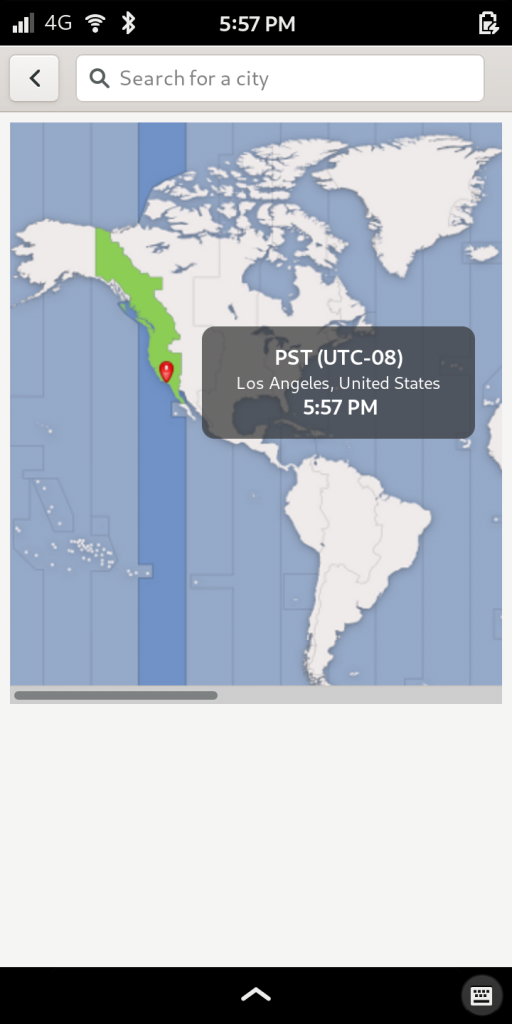 Librem 5, the most secure phone, showing timezone