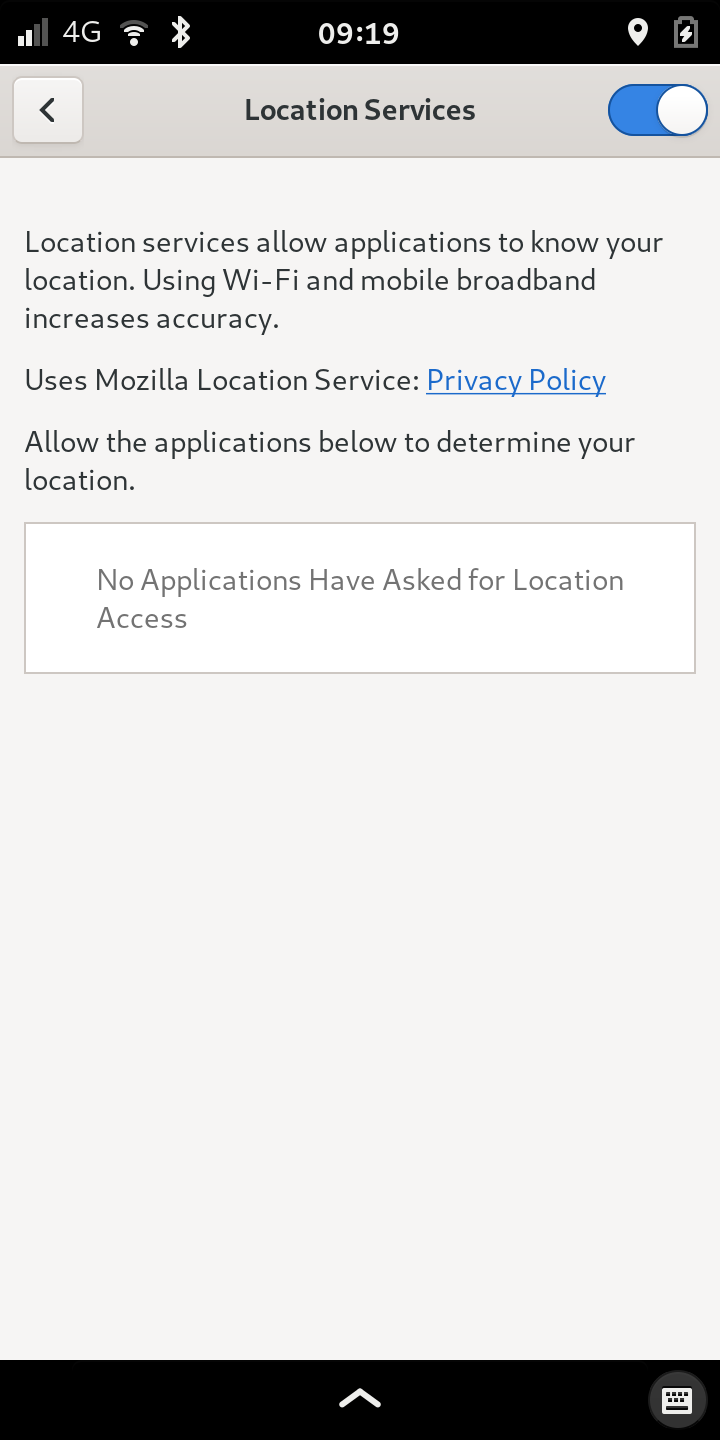 Location Services managed in Gnome Control Center