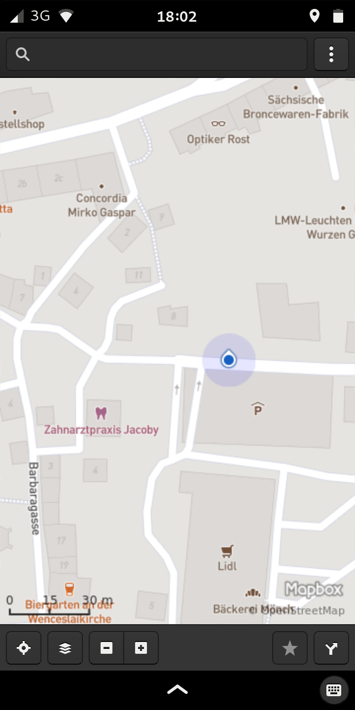Gnome Maps showing location on the Librem 5